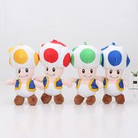 "Wholesale super mario toad plush - 18cm Wholesale Free shipping 4 colors 7"" Super Mario Bros Toad Plush Doll Mushroom plush Toys"