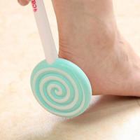 Wholesale Foot File Pumice - Cute Candystone Lollipop Style Rasp Pumice Stone Foot Callus Remover Pedicure Foot Treatment File Scraper Scrubber Body Care Tool ZA1684
