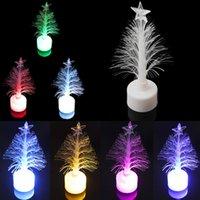 UK led fiber tree - Wholesale- Colorful LED Fiber Optic Night Light Christmas Tree Table Lamp Children Xmas Holiday Party Home Decoration Nightlight