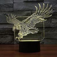 Wholesale Eagle Bedding - Eagle Lamp Acrylic 3D LED USB Night Light 7 Color Change LED Table Lamp Xmas Toy Gift for kids