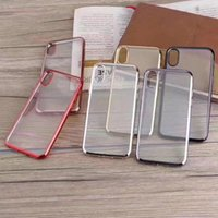 Wholesale Iphone Bumper Glossy - Bling Metallic Soft TPU Case For Iphone X 8 8Plus Clear Hybrid Chromed Plating Bumper Silicone Gel Rubber Back Skin Cover Glossy Business