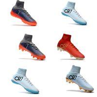Wholesale Pu Lace Jacket - 2017 Original CR7 Football Shoes Mercurial CR7 Superfly V FG Boys Soccer Shoes Soccer jacket Cristiano Ronaldo shoes Hot sale