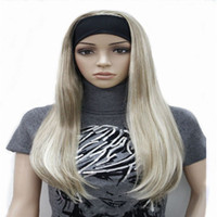 Wholesale Hair Green Highlight - Long 3 4 women's wigs hairpiece Straight with Adjust Black Headband Blonde Highlighted wig Synthetic Hair
