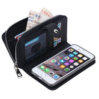 Wholesale Wallet Zip For Iphone - Multi-function Zip Zipper Leather Wallet Case With Card Pouch 2 in1 Removable PU Cover Cases For iPhone 7 6S Plus Galaxy S7 S8