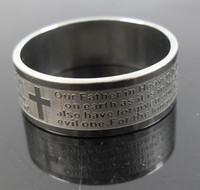 aguafuerte de acero inoxidable al por mayor-Mens Womens Etch Christian Serenity Prayer Cruz anillo de acero inoxidable plata anillo de banda de joyería de moda tamaño 8 a 12