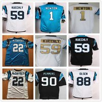 7a446def818 Ice Hockey Men Full Cheap Newest Man #1 Cam Newton Jersey Black Blue White #