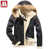 Wholesale Men Fur Thickening Coat - Wholesale- Free shipping New 2017 Men's brand Amercia pilot fur thickening faux lamb flocking air force leather jacket Winter coat M-XXL