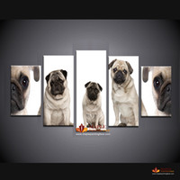 5 Pieces Pugs Print On Canvas Décoration d'intérieur Art moderne Art Art pour la peinture de toile de salon Cheap From China