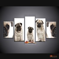 Wholesale Modern Art Canvas China - 5 Pieces Pugs Print On Canvas Home Decor Modern wall Art Picture For Living Room Canvas Painting Cheap From China