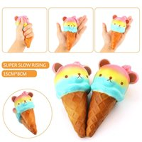 Regalo Rilakkuma Baratos-Colorido Rilakkuma Yummy Bear Ice Cream Jumbo Panda 14.5cm * 7.5cm kawaii Squishy Super Slow Rising teléfono correas pan torta juguetes regalo
