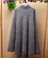Wholesale Korean Long Hair Styles - Ladies women long style Korean version gray high collar Angora rabbit hair long sleeves loose pullover cashmere sweater coat TC-007