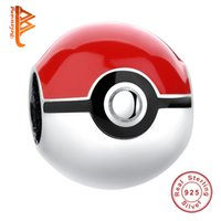 BELAWANG 925 Sterling Silver Pokeball Perles d'émail rouge Charm Fit Original Pandora Bracelets de charmeNecklaces Femmes Authentic Jewelry Making