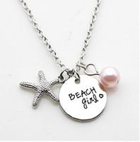 "Wholesale wholesale beach necklaces - 12pcs lot New Fashion necklace ""beach girl"" Pendant necklace Antique silver starfish Charm Pendant necklace Jewelry gift"