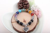 Wholesale Black Onyx Jewelry For Women - 6pcs lot Black onyx Bracelet For Woman Vintage Jewelry Inner Peace Yoga Life Energy Chakra Bracelet Natural Stone Bracelets & Bangles