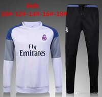 Wholesale Children S Sports Suits - 2016 2017 Kids Long Sleeve Real Madrid Tracksuit Jogging Boys Soccer kit Football Suits Youth Sport Wear Children Ronaldo training tracksuit