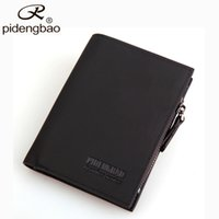 Wholesale Pidengbao Wallets - Wholesale- pidengbao Hot Sale Men Wallets Famous Brand Designer Wallet PU Nubuck Skin Mens Purse Short Mens Wallet With Coin Pocket