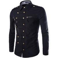 Wholesale Casual Slim Stylish Dress Shirts - Wholesale- Brand Men Shirt 2015 Fashion Design Mens Slim Fit Cotton Dress Shirt Stylish Long Sleeve Shirts Chemise Homme Camisa Masculina