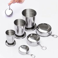 Wholesale Wholesale Novelty Wine Glasses - 75ML 140ML 250ML Novelty Stainless Steel Portable Folding Telescopic Collapsible Cup Outdoor Travel Cup Mug Keychain Folded Shot Wine Glass