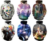 Wholesale Hoodie Women Skull - 2017 Newest Women's Hoodies With Hat Street Sweatshirts Sports 3D Print Athletic Sweater Workout & Training Galaxy Print M~2XL