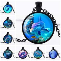 Wholesale Dolphin Rhinestone - Best gift Creative time gem necklace 3D dolphin glass pendant sweater chain hot WFN378 (with chain) mix order 20 pieces a lot