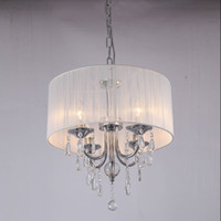 Wholesale Shaded Crystal Chandeliers - White Drum Shade Crystal Ceiling Chandelier Pendant Light Fixture Lighting Lamp 6 Lights D.40 x H.60cm