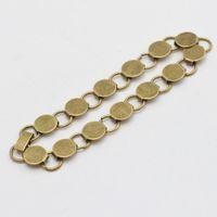 Wholesale Glass Identification - Silver plated bracelet with jump connected 10mm bezel base.fit 10mm glass cabochon;bracelet blanks ,sold 10pcs pkg