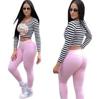 Wholesale Anchor Pullover - Women Suits 2017 Spring Anchor Print Sportwear 2 Pieces Set Women Joggings Femme Black And White Stripe Crop Top And Long Pant Tracksuit