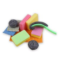 Sponge sponge dish brush - Kitchen stainless steel cleaning ball steel ball brush pot washing dishes sponge wiping household cleaning combination set wire brush