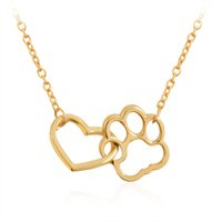 Wholesale Paw Print Pendants Wholesale - Linked Heart & Paw Necklace Silver Hollow Heart shaped Pet Paw Print Pendant Necklace for Dog Owners Women Men Animal Cool Jewelry