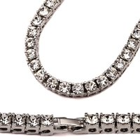Wholesale Big Wedding Crystals Necklaces - Hip Hop Bling Iced out 1 Row Crystal Bling Bling Necklace Chain big Statement Necklaces for Men