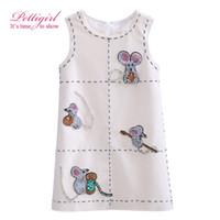 Wholesale Tank Dress For Girls Wholesale - Pettigirl 2017 New Girls Tank Dress White Sleeveless Cartoon Mouse Printing For Girls Kids Clothing G-DMGD908-853