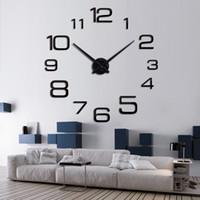 Wholesale Quartz Egg Watch - clock egg 2016 new quartz watch wall clock acrylic mirror 3d clocks horloge murale reloj pared digital Living Room Europe free shipping