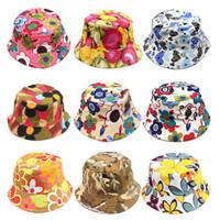chapéu cloche crianças venda por atacado-Novas Meninas Floral Chapéus de Sol Crianças Crianças Viseira Do Bebê Sting Brim Casuais Chapéus de Algodão Mistura Moda Vestido Caps Presentes de Aniversário 30 Estilo WX-H06