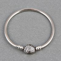 Wholesale Silver Pave Bar - Wholesale- ZMZY Pave Full Cubic Zirconia 100% 925 Sterling Silver Bangle Heart Clip Clasp European Style Charm Bracelets For Women Jewelry