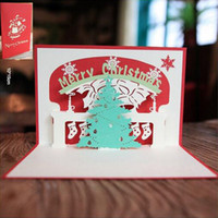 Wholesale Paper Xmas Trees - 10Pcs Red Merry Christmas Tree Greeting Cards 3D Laser Cut Pop Up Paper Handmade Postcards Custom Xmas Tree Christmas Party Gift