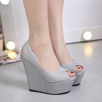 Wholesale Bridesmaid Shoe Wedge Rhinestone - Glitter Wedding Bridesmaid Dress Shoes Platform Peep Toe High Heel Wedge Shoes Size 35 To 40