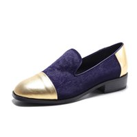 Wholesale Silver Closed Toe Heels Low - New Horsehair Women loafers 3 cm low heels Golden shoes for woman Spring casual shoes on platform Plus size 33-41 Box Packing MSY-8765
