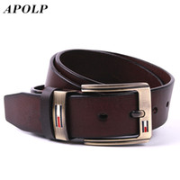 Wholesale Wholesale Luxury Brand Products - Wholesale- APOLP New Product Brand Luxury Retro Pin Buckle Head Layer Cowhide Yellow Belt Leather Belts For Men Business Cowboy Belts Hot