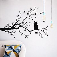 Wholesale Removable Wall Decals Cats - Wall Stickers Cats Sit In Branches With Birds Black Decal Water Proof Removable Kid Room Decor Sticker 5 5kw F R