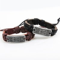 Wholesale SUPIN Fashion Handmade Hawaii Rectangular Cross Leather Alloy Cuff Bracelet Casual sporty Bracelets Bangles Homme Men Jewelry
