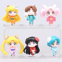 Wholesale Q Models - 6pcs set Anime Cartoon Sailor Moon Mars Jupiter Venus Mercury Q Version PVC Action Figure Model Toys Dolls