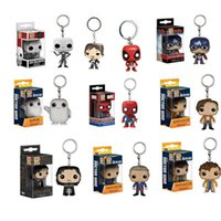 Wholesale Avengers Funko - Funko Pop Super Hero Action Figure Toys Keychain Pendant Mini Spiderman Hulk PVC dolls Keyring With Gift Box