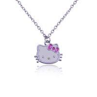 Wholesale Little Korean Jewelry - Wholesale- Korean Jewelry Korean Version Lady Lovely Original Single Full Of Rhinestone Necklace Little Hello Kitty Necklaces & Pendants