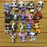 Wholesale Cat Toys Free Shipping - 18pcs lot Random Littlest Pet Shop Q LPS-Littlest Shop Series Pet Doll Animal Cartoon Cat Dog Action Figures Collection Toys Free Shipping