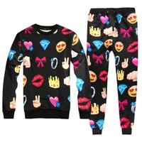 Two Piece Pants spot smile - 2017 Emoji jogging pants casual pants smile spot emoji bow sweater