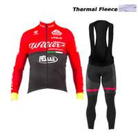 Wholesale Cycling Bib Purple - 2017 New style Winter thermal Fleece cycling clothes long sleeve Pro cycling jersey Bycle bib long pants Sets winter cycling clothing warm
