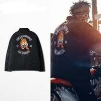 Men black motorcycle gangs - Bandit Gang Clothes Tiger Patter Bomber Jacket For Men Classic Street Flame Motorcycle Coats Fashion Streetwear