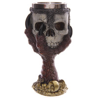 Wholesale Dragon Ornaments Wholesale - 4 Piece Dragons Claw Warrior Skull Gothic Goblet Gothic Spine Chalice Pagan Samhein Halloween Ornament