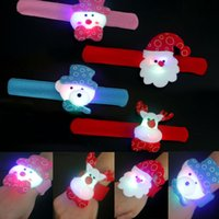 Wholesale pats lighting - LED Christmas Gift Pat Circle Bracelet Xmas Santa Claus Snowman Toy Wristband Bracelets Christmas Tree XMAS Decoration Ornament HH7-417