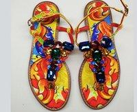 sandales décontractées couleur jaune achat en gros de-Été européenne couleur mélangée strass gladiateur sandales femmes jaune plage appartements chaussures en cuir sandales occasionnels